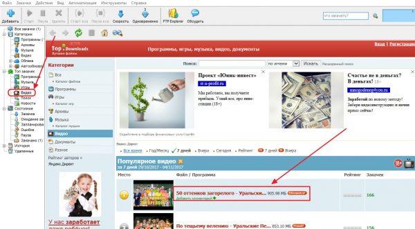 Главное окно программы Download Master