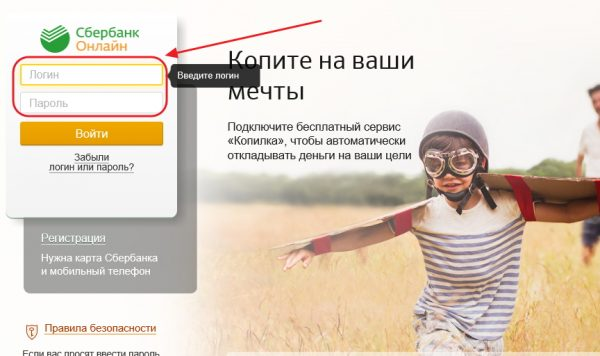 Окно приложения «Сбербанк Онлайн»