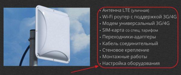Пример комплекта оборудования для частного подключения к Wi-Fi-сети