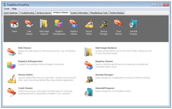 Главное окно программы TweakNow PowerPack