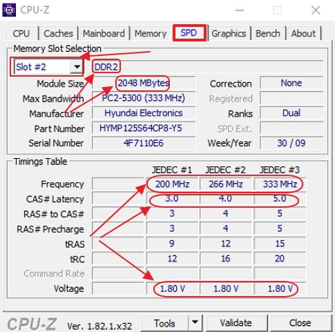 Вкладка SPD в программе CPUID CPU-Z