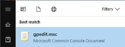 Вход в редактор групповой политики Windows 10