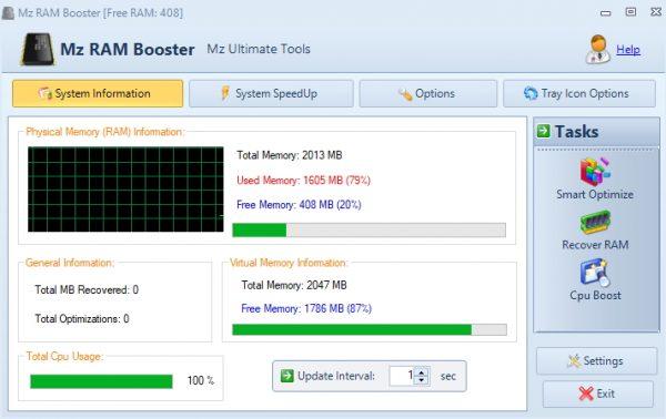 Интерфейс утилиты Mz RAM Booster