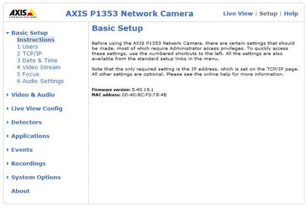 Предварительная мини-инструкция в веб-интерфейсе IP-камер Axis