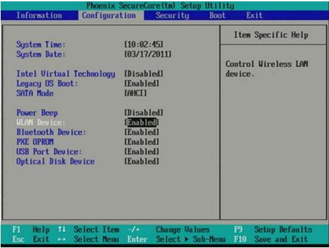 Проверка статуса Bluetooth в Phoenix/AMI BIOS