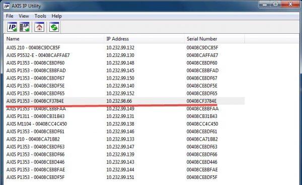 Список IP-камер в приложении Axis IP Utility