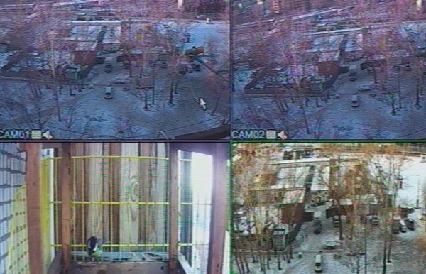 Видеопоток на мониторе регистратора от фирмы ССБ с 4-х IP-камер