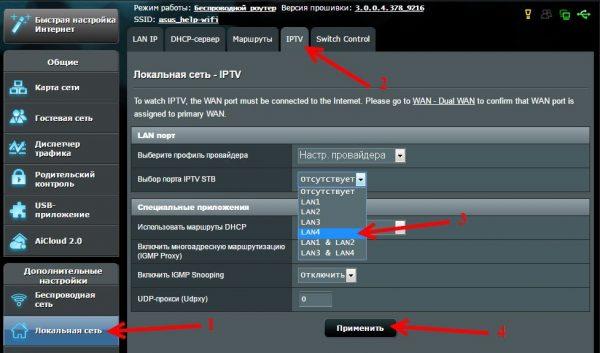 Выбор порта LAN для приставки IPTV