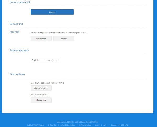 Другие функции восстановления/сброса Xiaomi Router 3