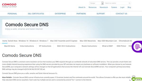 Сайт Comodo Secure DNS