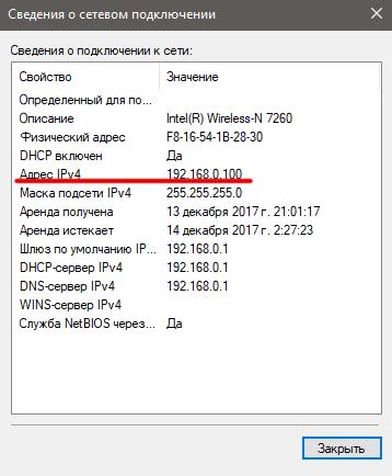 Внутренний IP-адрес