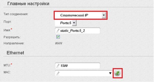 Ввод настроек 5-го порта для статичного IP