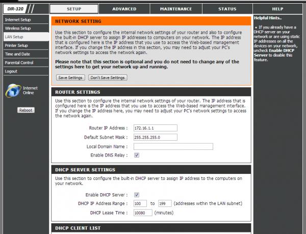 Настройка LAN и DHCP на роутере DIR-320