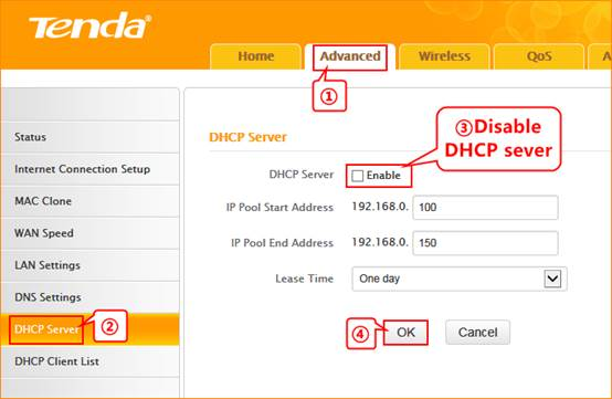 Настройка сервера DHCP на Tenda F300