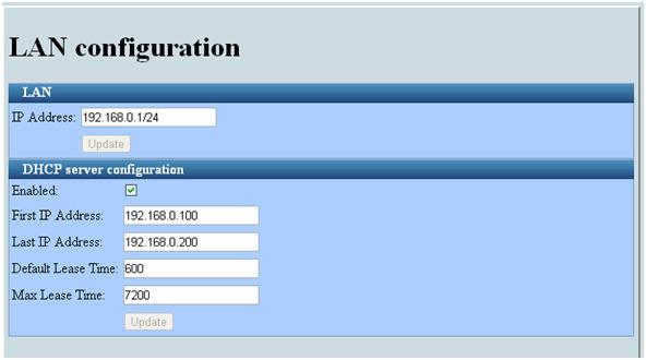 Назначение IP-нумерации DHCP и указание адреса LAN