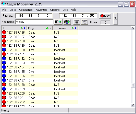 Поиск IP через Angry IP Scan