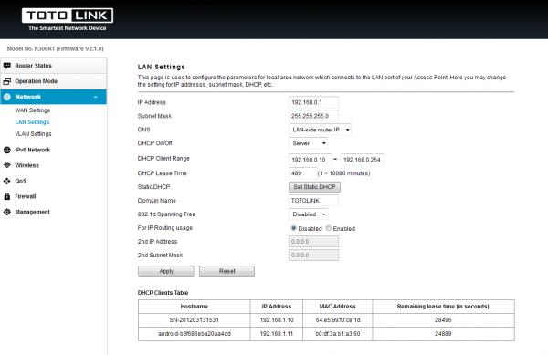 Присвоение IP сновному шлюзу ЛВС роутера N300RT
