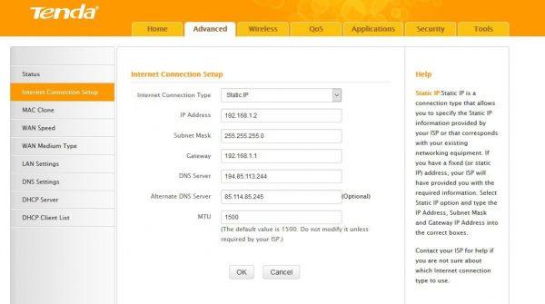 Статические IP-параметры на Tenda F3