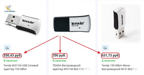 Ценовые характеристики адаптера Tenda W311M