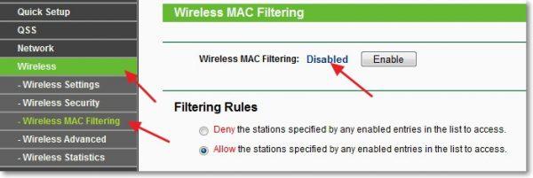 Фильтр по MAC-адресам в роутере