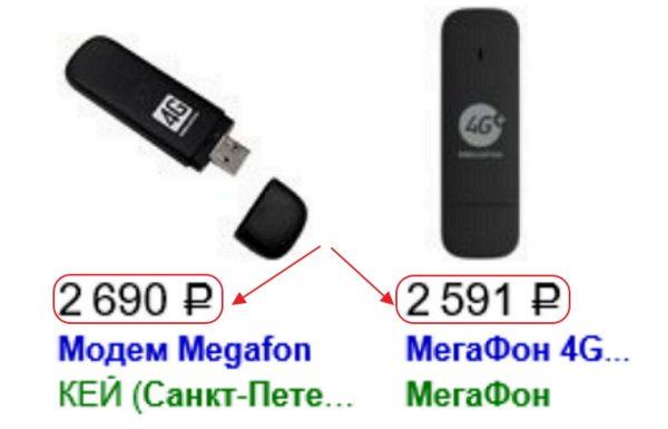 Стоимость 4G USB-модемов в розничной продаже