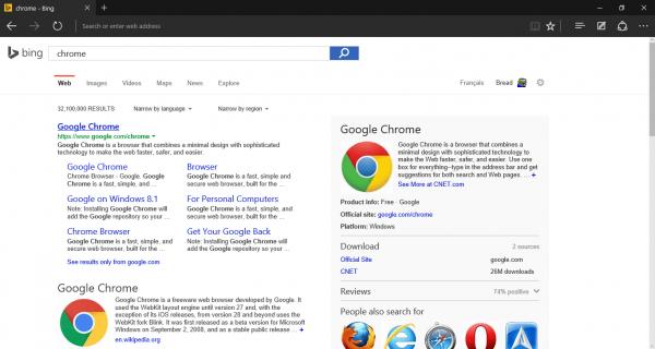 Переход на официальную страницу Google Chrome