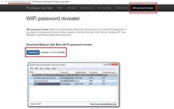 Официальный сайт разработчиков программы WiFi Password Revealer