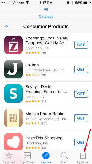 Переход к списку обновлений в App Store