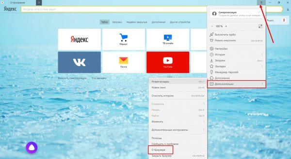 Проверка версии «Яндекс.Браузера»