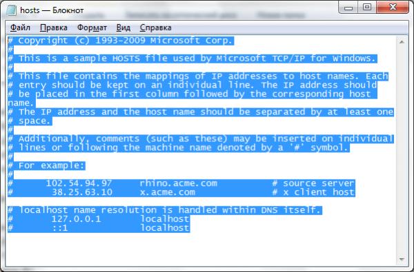Содержимое оригинального файла hosts