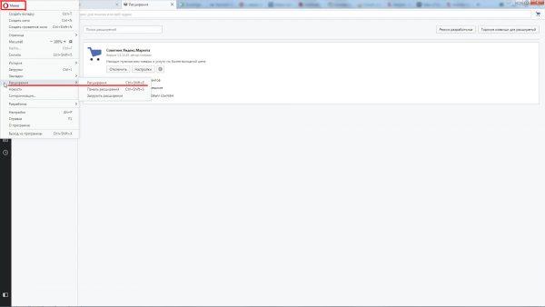Окно расширений для браузера Opera