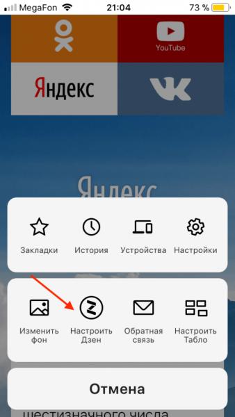 Переход к параметрам «Дзен» на iOS