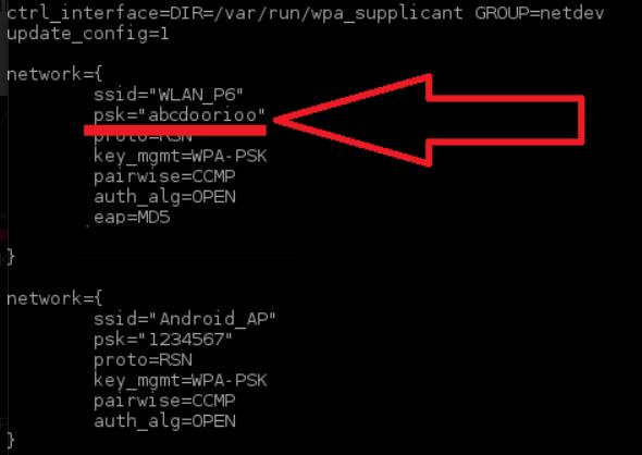 Поиск пароля в wpa_supplicant.conf