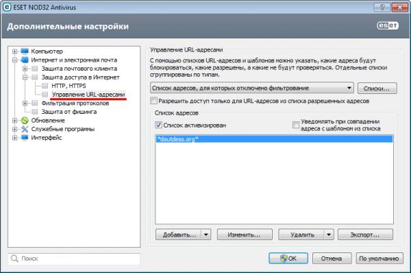 Управление сайтами в антивирусе ESet NOD32