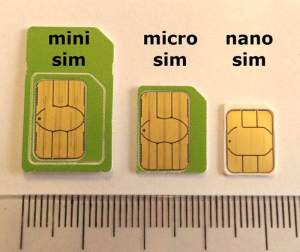 Внешний вид sim-карт различных типов