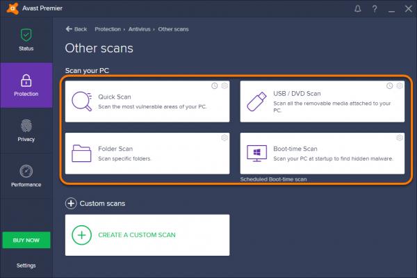 Выбор режима сканирования в Avast