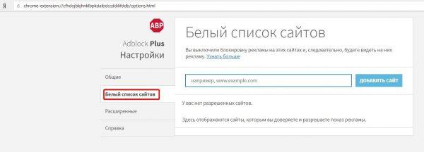 Панель настроек Adblock Plus (категория «Белый список сайтов»)