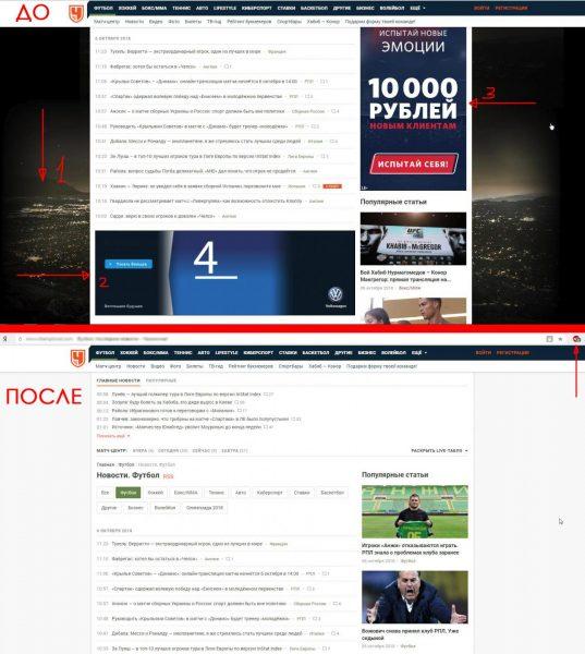Тест работоспособности Adblock Plus на спортивном сайте «Чемпионат»