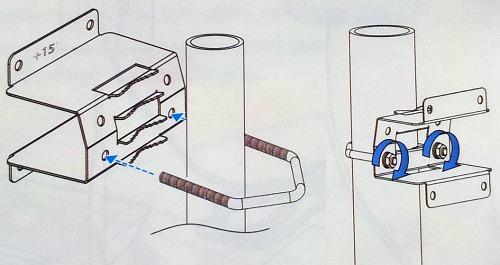 Фиксация кронштейна с модемом LTE6101 на опоре