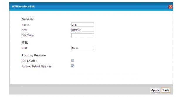 Общие сетевые настройки модуля 4G в LTE6101