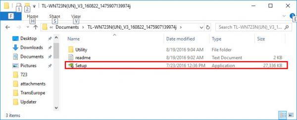 Папка с файлами установки драйвера