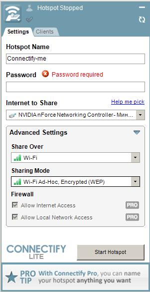 Подключение к интернету через Connectify
