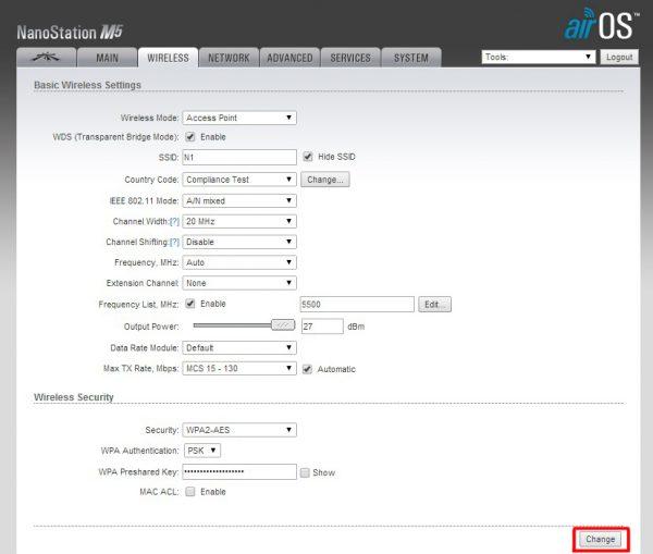 Окно натсроек WIRELESS для маршрутизатора Ubiquiti NanoStation M5 (базовая станция)
