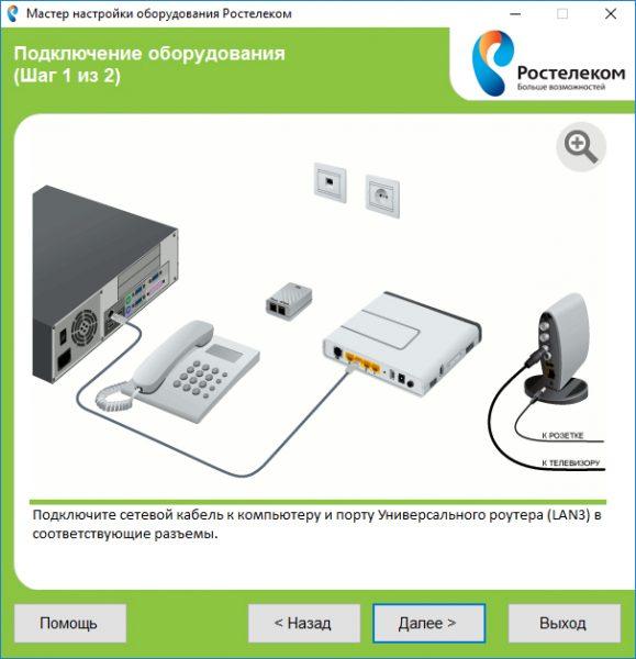Окно информации с инструкцией по подключению сетевого оборудования