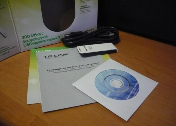 Комплектация адаптера TP-Link TL-WN821N
