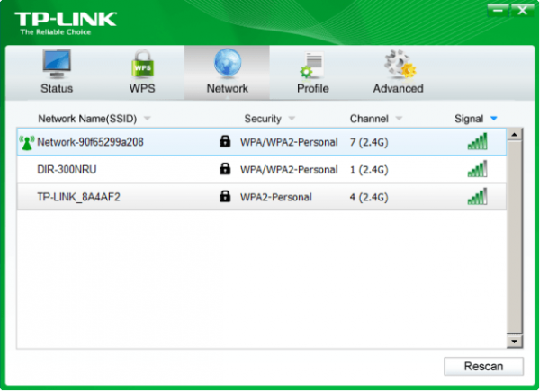 Интерфейс программного обеспечения TP-Link