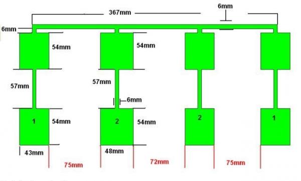Размеры активной части антенны