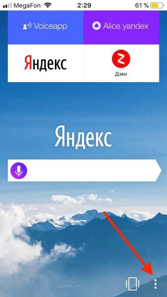 Переход к меню браузера iOS