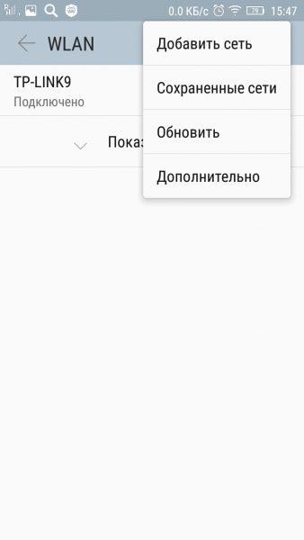 Пункт «Дополнительно»