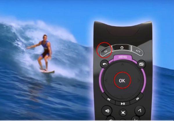 Переход в режим программирования происходит при одновременном нажатии кнопок «OK» и «TV»